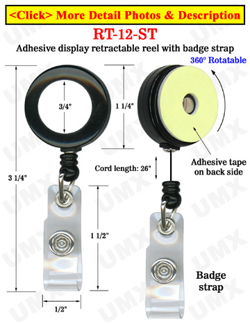 Rotatable Retractable Displays With Adhesive Backs and Snap-On Buttons