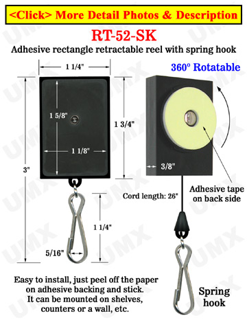 All Direction Access Retractable Spring Hook Display With Adhesive Backs and Metal Spring Hooks