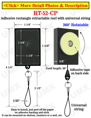 All Direction Access Retractable String-Tie Display With Adhesive Backs and Universal Strings