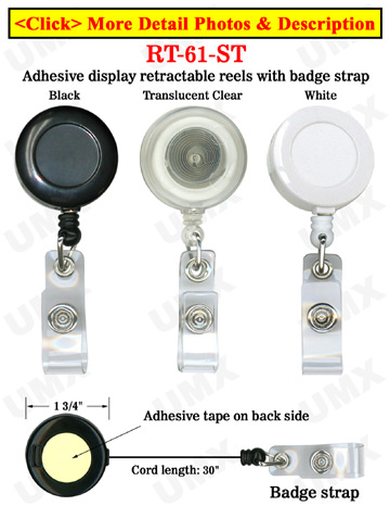 Adhesive Simple Snap-On Display Retractable Reels With Snap-On Straps and Adhesive Backing