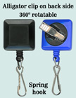 Rotatable ID Card Reels With ID Card Hooks & Alligator Clips RT-09-SK/Per-Piece