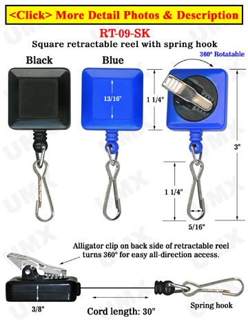 Rotatable ID Card Reels With ID Card Hooks & Alligator Clips