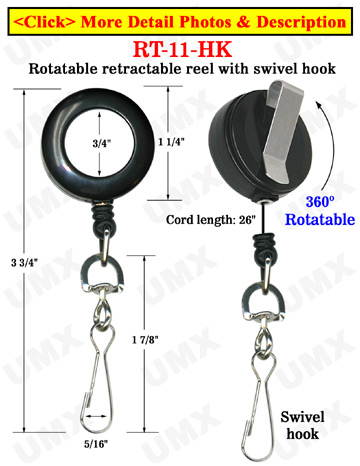 All Direction Pull Retractable Swivel Hooks Reels With Metal Swivel Hooks & Belt Clips