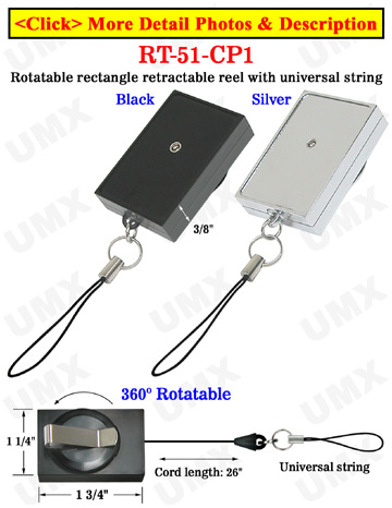 Rectangle Rotatable Retractable ID Card Reels With Univeral ID Card Strings