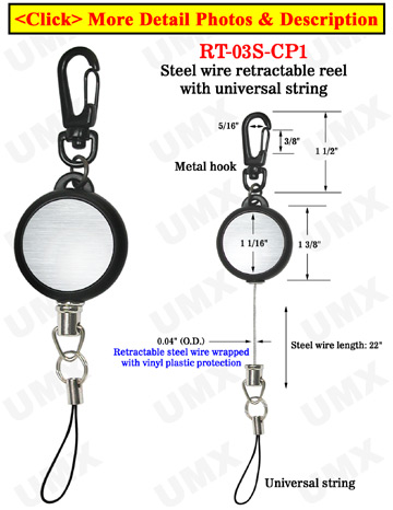 Metal Steel Cable Wire Retractable Reels With Universal String