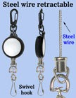 Steel Cable Wire Retractable Reels With Metal Swivel Hooks RT-03S-HK/Per-Piece