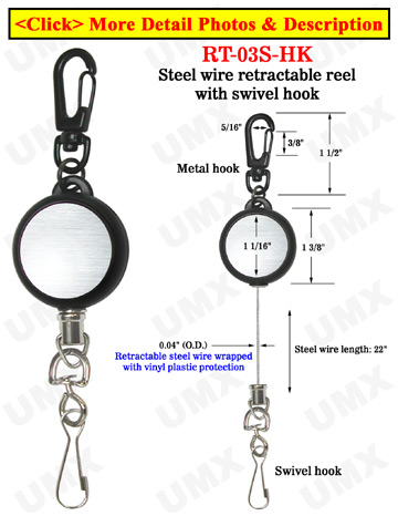 Steel Cable Wire Retractable Reels With Metal Swivel Hooks