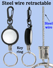 Steel Wire Retractable Key Holders With Keychains