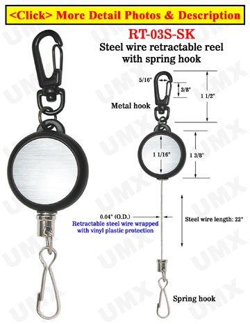Braided Cable Wire Retractable Reels With Metal Spring Hooks