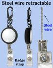 Durable Steel Wire Retractable Reels With Badge Straps