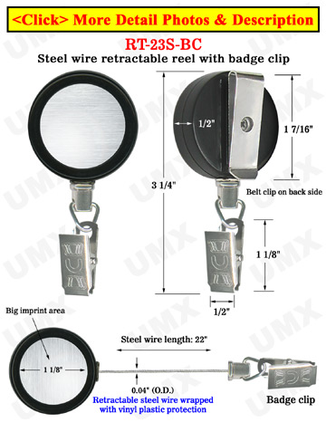 Durable Steel Cable Name Badge Reels With Metal Badge Clips