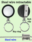 Durable Steel Cable Key Holder Reels With Retractable Key Chains