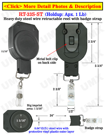 Durable Steel Cable  Multiple Function Retractable Badge Reels With Badge Strap Attachments