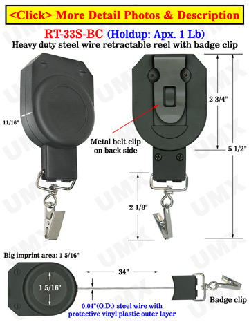 Steel Wire Cable Big Badge Reels With Metal Badge Clips