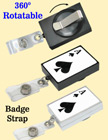 Preprinted Retractable Name Badge Holders: Poker ACE Print RT-51-ACE-ST/Per-Piece