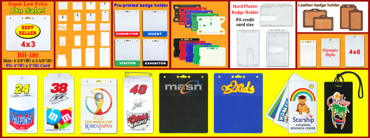Wholesale Name Badge Holders,  Plastic ID Cards, Name Tags, Ticket Pouches & Sleeves Supplies